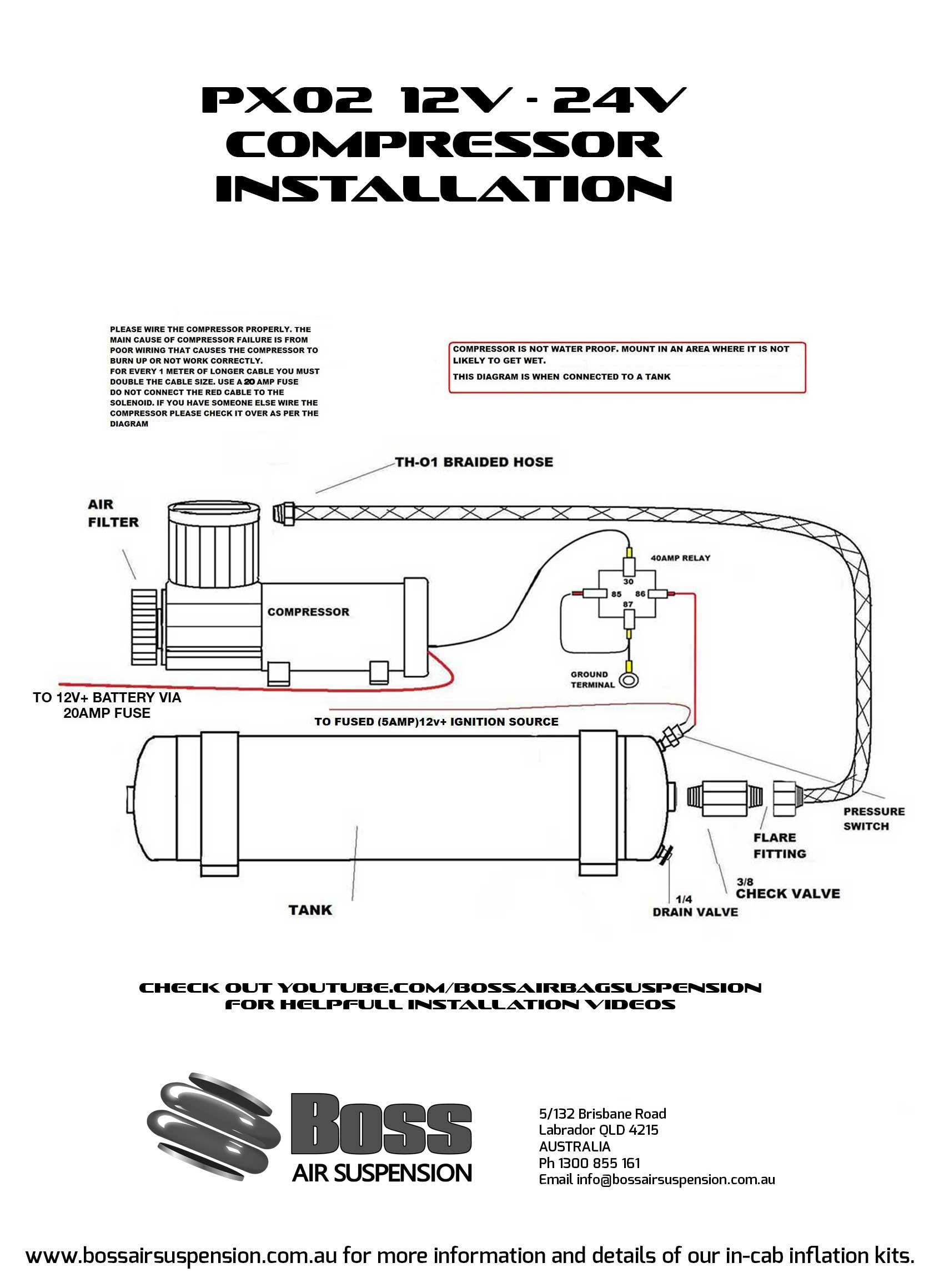 com px02 complete 12 volt air compressor boss air suspension rh bossairsuspension com